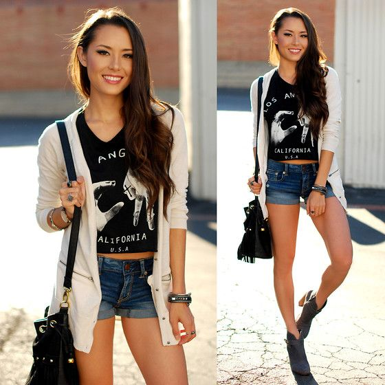 American Eagle Boyfriend Cardigan, Daily Look Socal Muscle Tank, American Eagle Denim Shorts, Steve Madden Gray Suede Booties