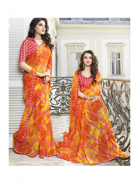 Enigmatic Orange and Yellow Printed Saree