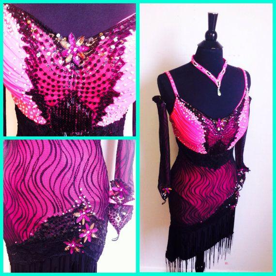 Rosa danza vestito rosa e nero pizzo ballo di DesignByNatasha
