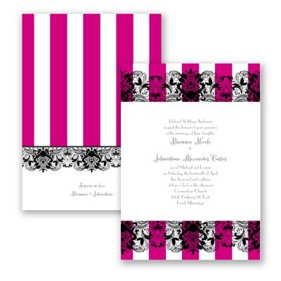 French Lace in Begonia - wedding invitations by David's Bridal. Hot pink and black.
