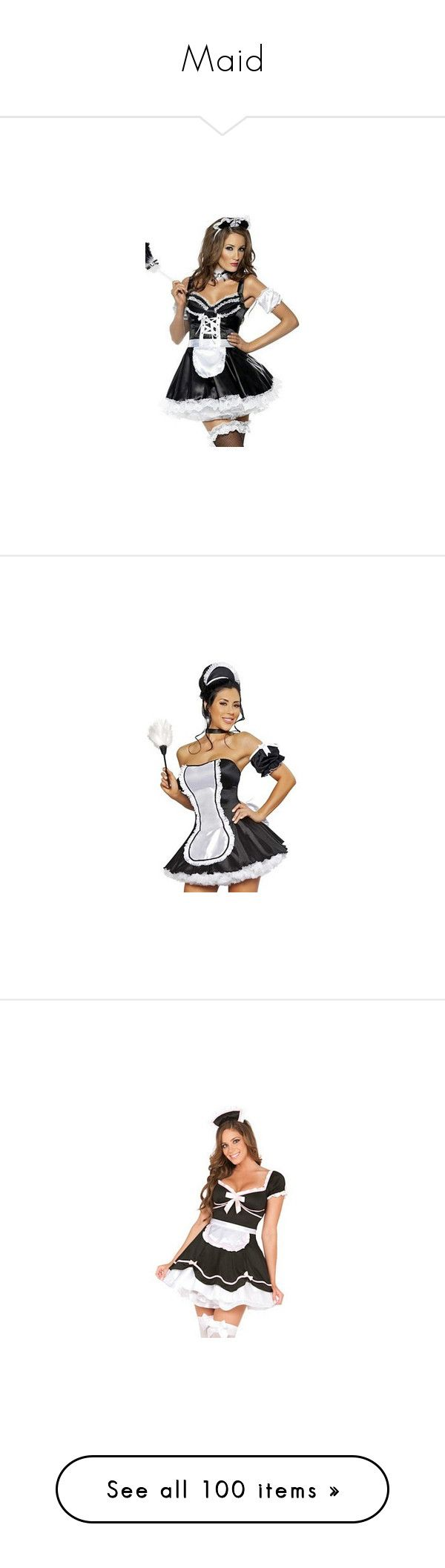 """Maid"" by hannah-e ❤ liked on Polyvore featuring costumes, sexy maid halloween…"