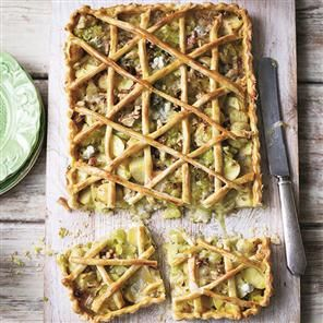Leek, potato and gorgonzola tart recipe. The potato and leek combination goes perfectly with the rich gorgonzola for a fabulous vegetarian tart.