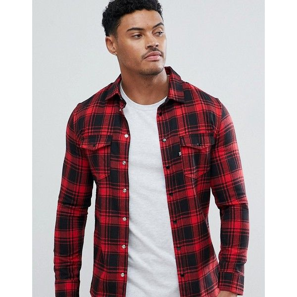 Good For Nothing Muscle Shirt In Red Check (3.615 RUB) ❤ liked on Polyvore featuring men's fashion, men's clothing, men's shirts, men's casual shirts, red, mens butterfly collar shirt, mens checked shirts, mens patterned shirts, mens print shirts and mens red checkered shirt