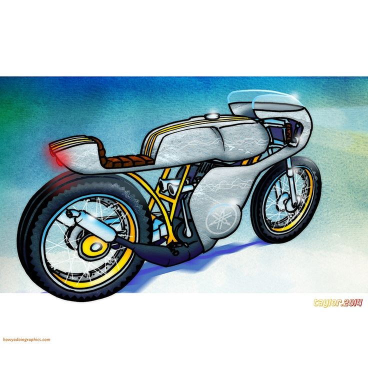 Yamaha RD400 Cafe Racer  http://www.redbubble.com/people/howyadoin/calendars/13088352-bikes #motorcycle #caferacer #motorcycleart