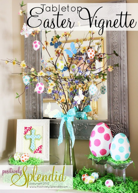 Polka Dot Easter Vignette | Positively Splendid {Crafts, Sewing, Recipes and Home Decor}