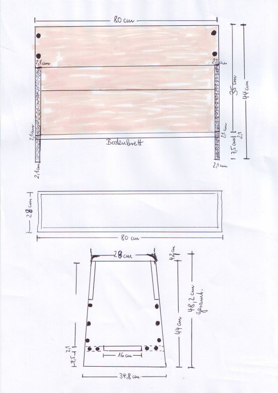 Instructions on making the Oseberg chest, in German, with measurements