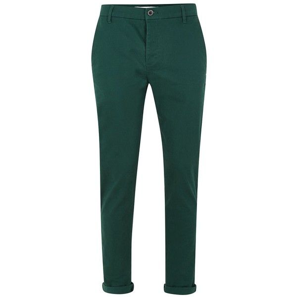 TOPMAN Bottle Green Stretch Skinny Chinos ($35) ❤ liked on Polyvore featuring men's fashion, men's clothing, men's pants, men's casual pants, green, men, mens green chino pants, mens cotton pants, mens stretch pants and mens green pants