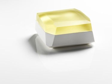Andrea Walsh large flat faceted box, porcelain and pale yellow glass, 2012 8cm (h) and 16cm (w)