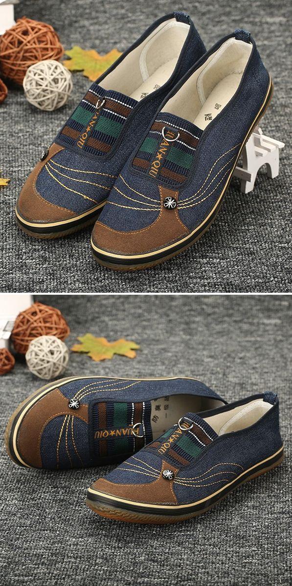 US$9.88 Denim Color Match Button Canvas Slip On Flat Casual Shoes