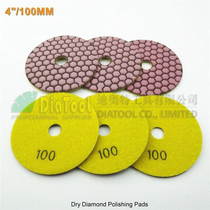 6pcs/pk diameter 4inch Resin bond diamond flexible polishing pads #100 100mm dry sanding disc marble granite stone sander disk