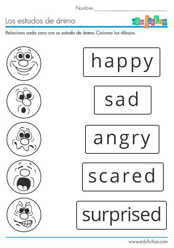 Descarga nuestra ficha educativa para aprender los estados de ánimo en inglés. Ficha coloreable con ejercicio de relacionar caras con los estados de ánimo.  #hasppy #worksheet #workbook