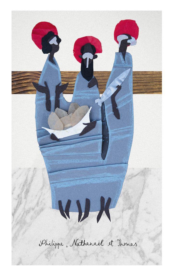 Philip, Nathanael (Bartholomew) and Thomas / Philippe, Nathanaël & Thomas / Felipe, Natanael y Tomás // Illustration By Jakub Bednarz // Marche dans la Bible // Frères Dominicaines de Lille, France // #Apostle #NewTestament