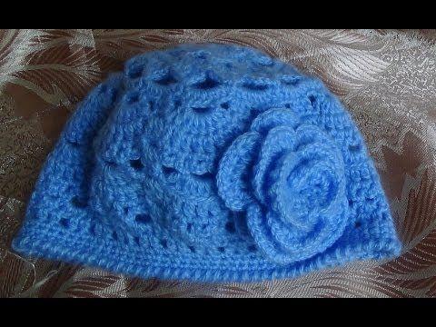 Голубая весенняя шапочка крючком.Часть 1 .Spring cap crochet.part 1 - YouTube