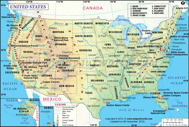 Usa Map Shows The 50 States Boundary Capital Cities