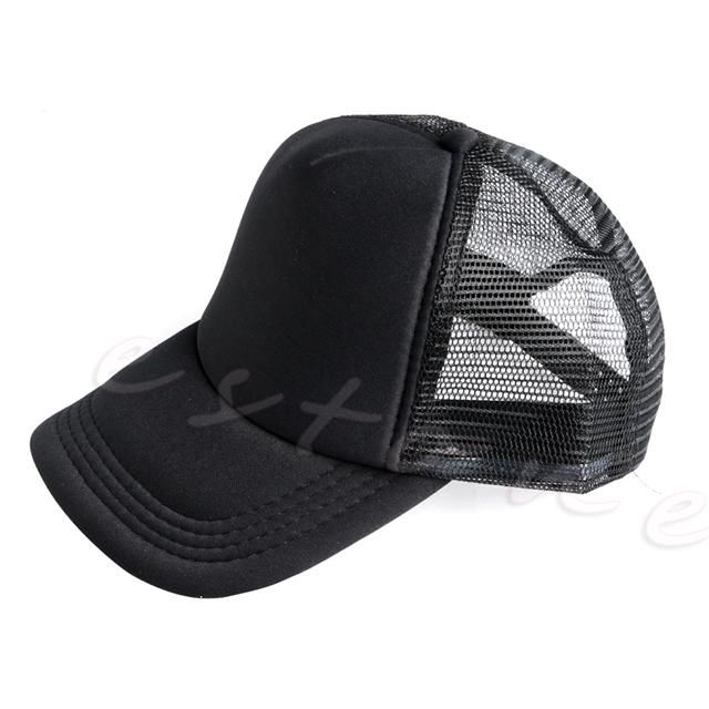 Adjustable Blank Curved Visor Hat Plain Baseball Cap Solid Trucker Mesh Men Women New Gorros para el sol-448E