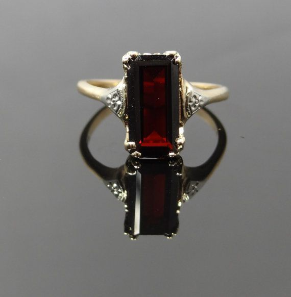 beautiful art deco garnet and gold