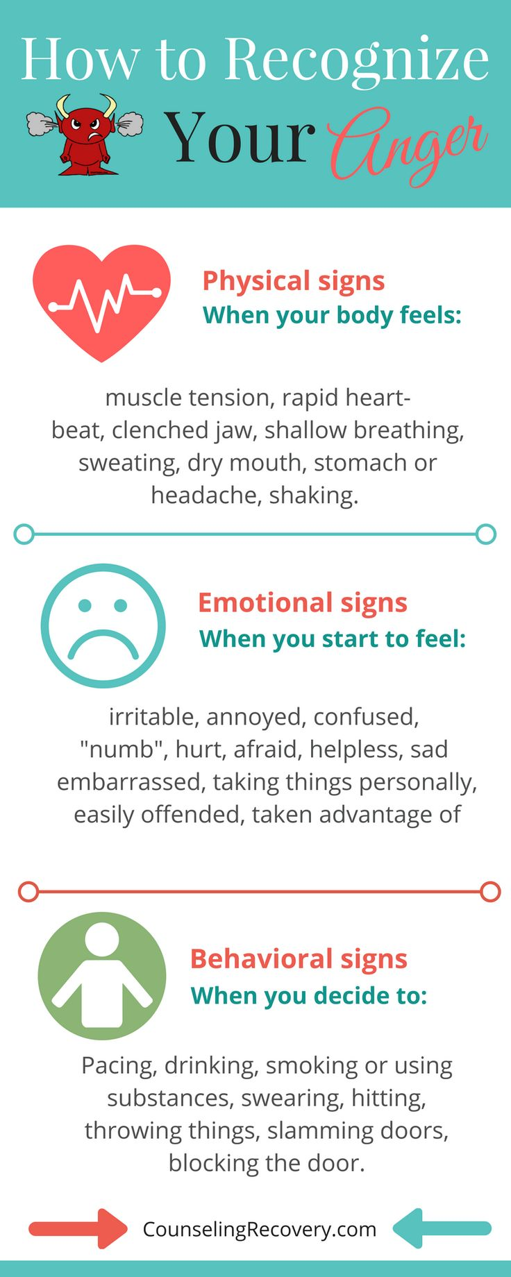 Knowing your early warning signs of anger can prevent heated arguments and potential abuse. Whether you stuff anger or explode, learning how to handle anger makes a difference in relationships. Click the image to learn how.