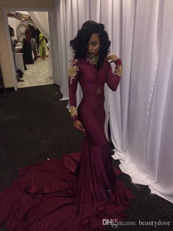 8435537fda High Neck Gold Appliques Long Sleeve Burgundy Mermaid Prom Dresses ...