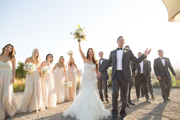 Our Aidan Dresses in Champagne  Photography: Michael + Anna Costa Photography - michaelandannacosta.com  Read More: http://www.stylemepretty.com/2013/12/17/ojai-wedding-at-red-tail-ranch/