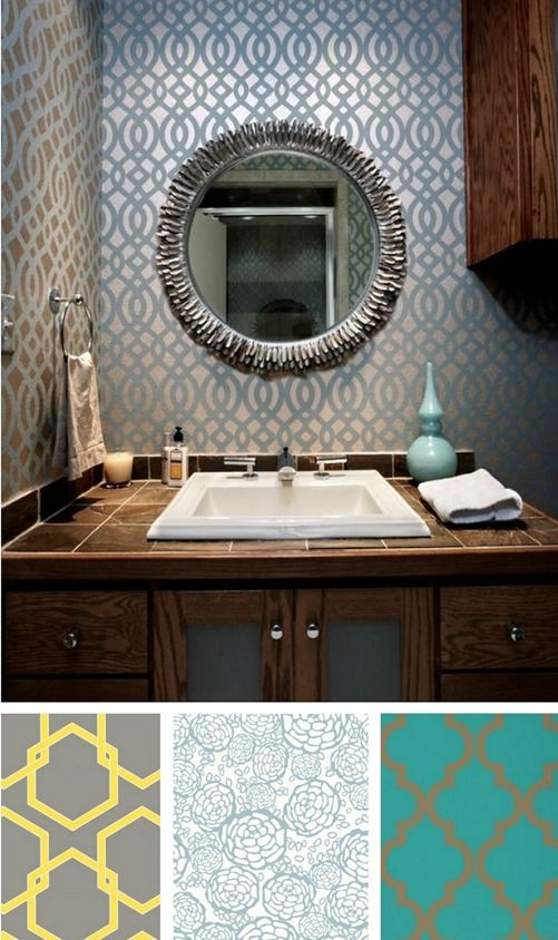 get the look of the permanent versions by spending a few bucks on temporary removable wallpapers to add that dash of panache to your plain bathroom walls