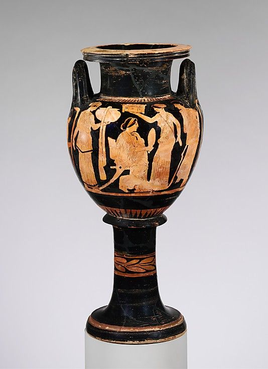 Attributed to the Naples Painter. Terracotta lebes gamikos (round-bottomed bowl with handles and stand used in weddings), ca. 420 B.C. Greek, Attic. Classical Period. The Metropolitan Museum of Art, New York. Rogers Fund, 1906 (06.1021.298) | The scene shows preparations for a wedding. The seated bride, who holds a mirror, is flanked by attendants holding a dinos (deep bowl), probably of bronze, and a casket. The youth at the right might be the groom.