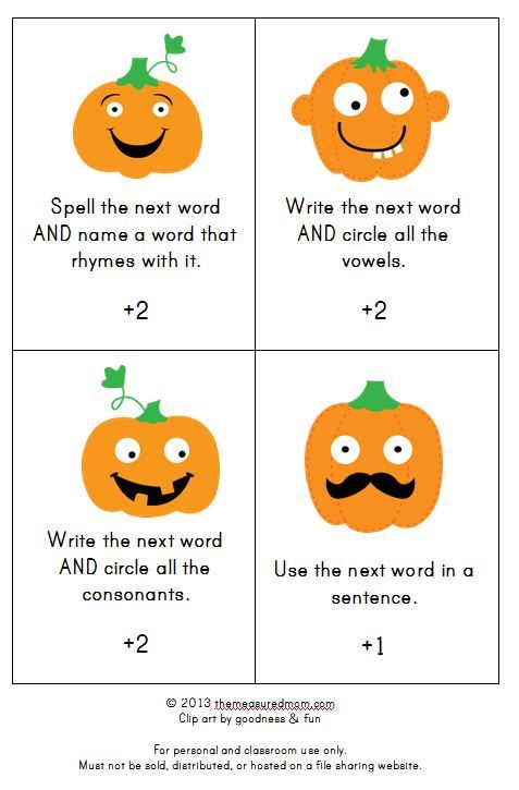 fall spelling game (2) - the measured mom