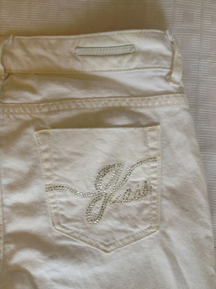Ladies Guess 'Starlet' Diamante White Skinny Jeans - Size 29/34 - Now selling! Click through to go to eBay auction.