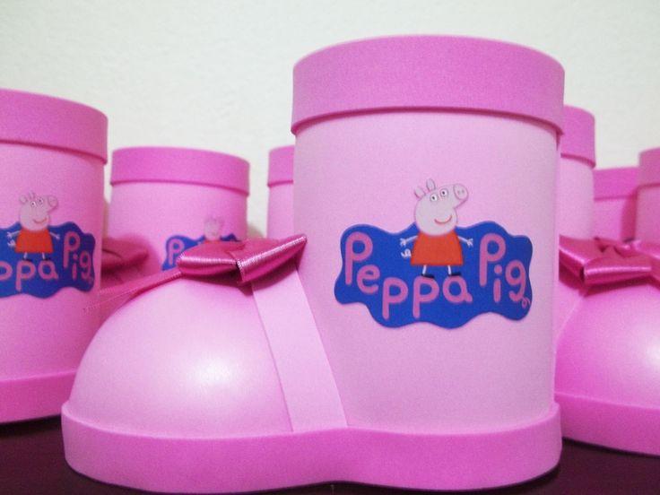 Centro de mesa botinha de eva Peppa Pig