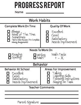 This progress report is a great template to help parents understand how their child is performing and behaving in class. This template allows you to cover not only their performance but behavior as well.