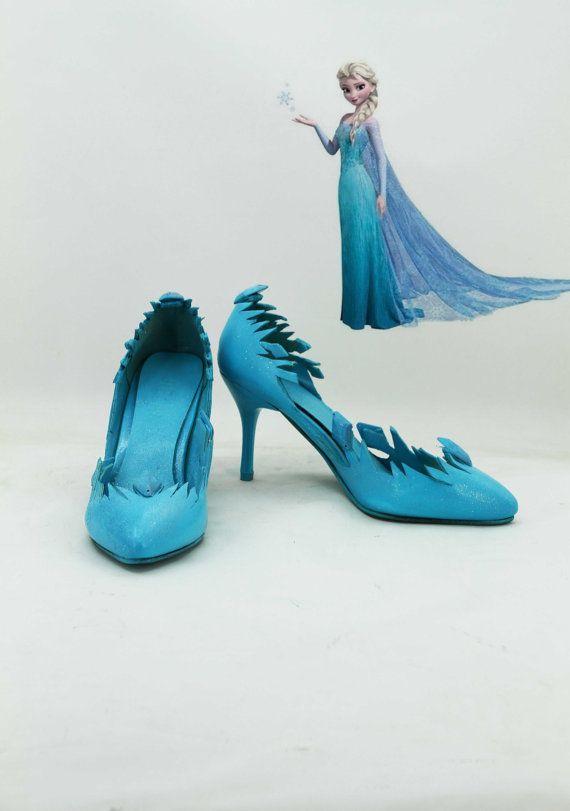 Disney Film Frozen Snow Queen Elsa Cosplay Shoes Custom by Coszone, $49.85