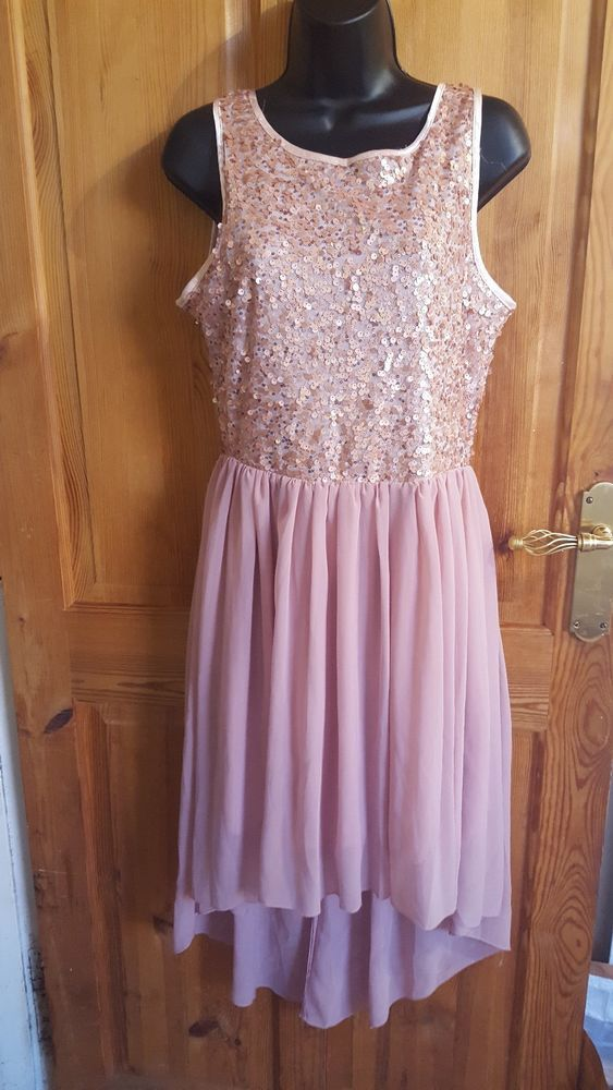 f81e84f6a3 Details about Womens Boohoo Dress Size 12 Pink Sleeveless Prom Party ...