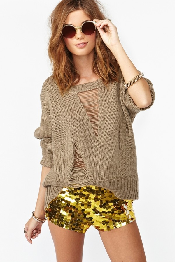 Solid Gold Sequin Shorts