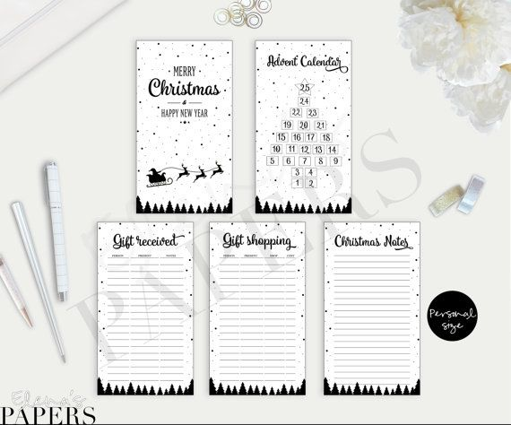Printable CHRISTMAS inserts Black & White style by ElenasPapers
