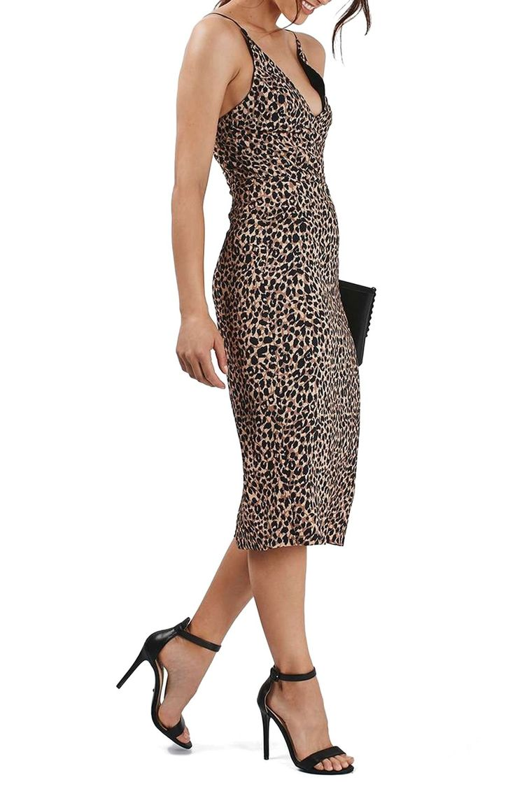 Topshop Animal Print Plunge Body-Con Midi Dress (Petite) available at #Nordstrom