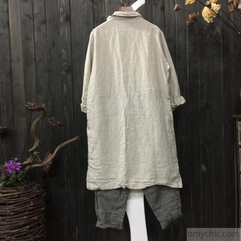 beige white embroidery linen shirt plus size casual long sleeve topsMost of our dresses are made of cotton linen fabric, soft and breathy. loose dresses to make you comfortable all the time.Flattering cut. Makes you look slimmer and matches easily.Custom make service available! Please feel free to contact us if you want this dress custom made. Materials used:linen Measurement:One size fits all for this item. Please make sure your size doesn't exceed this size: XXL/BUST-112cm le...