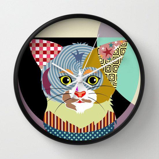 Cat Clock, Decor van het huis van Cat, kat muur opknoping, kat Wall Decor, kat accessoires, kat cadeau, Cute Cat, meisjes kamer Decor