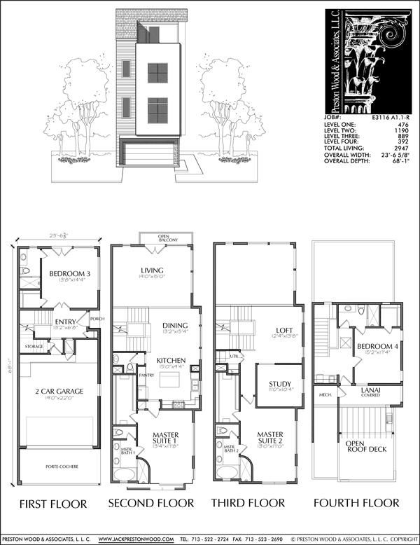 Four Story Townhouse Plan E3116 A1 1l Town House Floor Plan Brownstone Homes Narrow House Plans