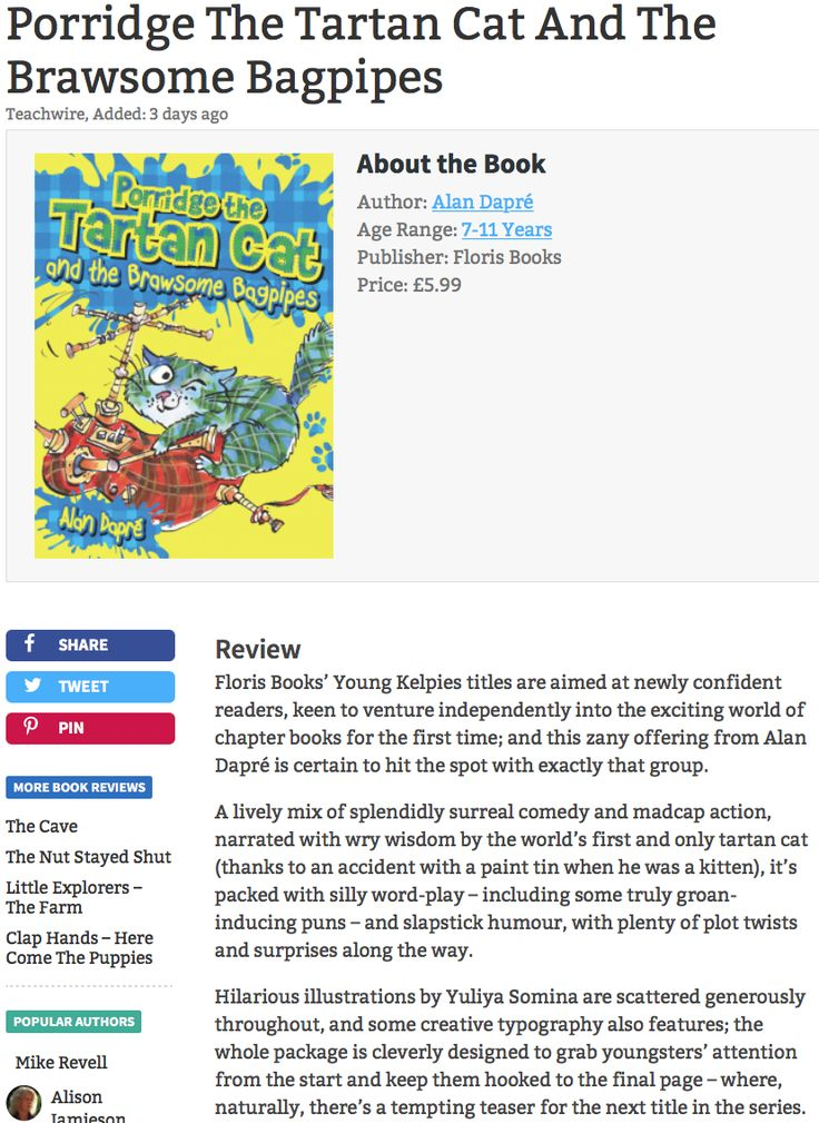 """A lively mix of splendidly surreal comedy and madcap action, narrated with wry wisdom by the world's first and only tartan cat (thanks to an accident with a paint tin when he was a kitten)"" -Teachwire review of 'Brawsome Bagpipes'"