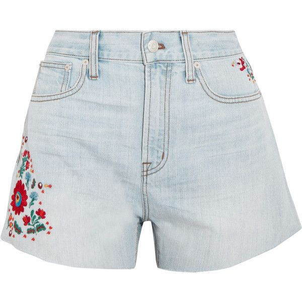 Madewell The Perfect embroidered denim shorts ($100) ❤ liked on Polyvore featuring shorts, light denim, madewell, embroidered shorts, embroidered denim shorts, denim short shorts and light blue shorts