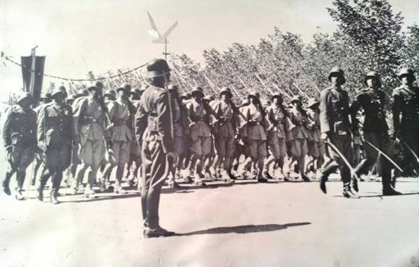 2/10/43 Afghanistan independence day Afghan troops march past Zahir Shah