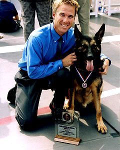 """TRAKR, together with poilice officer James Symington, Trakr helped dig through 30 ft. of unstable debris at the World Trade Center """"ground Zero"""" site and located the last human survivor of the attack., he was so celebrated the police want to clone him for use in other police forces!"""