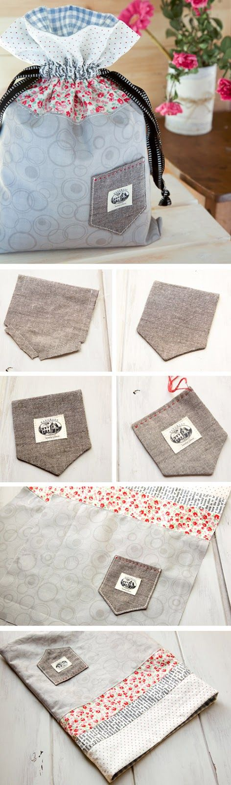 Drawstring Bag String Pouch. DIY Tutorial with Photos.  http://www.handmadiya.com/2015/11/how-to-make-drawstring-bag.html