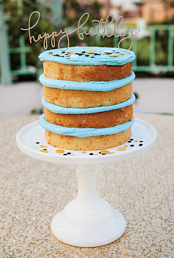 We love this delightful half-naked layer cake for an adult birthday party.