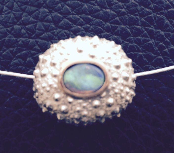 Sea Urchin choker (sterling silver, 10K gold & opal)