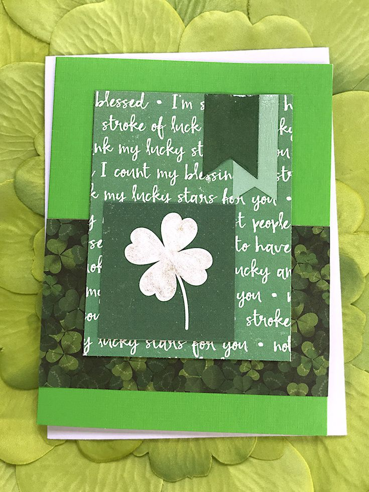 White Sparkling FourLead Clover Greeting Card, Good Luck