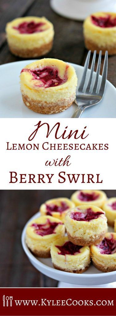 Mini Lemon Cheesecakes with a homemade Raspberry Puree swirled into the top. Enjoy 1, or 5 (I won't tell!). Great for making ahead! via @kyleecooks