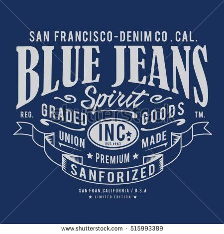 Blue denim raw typography, t-shirt graphics, vectors