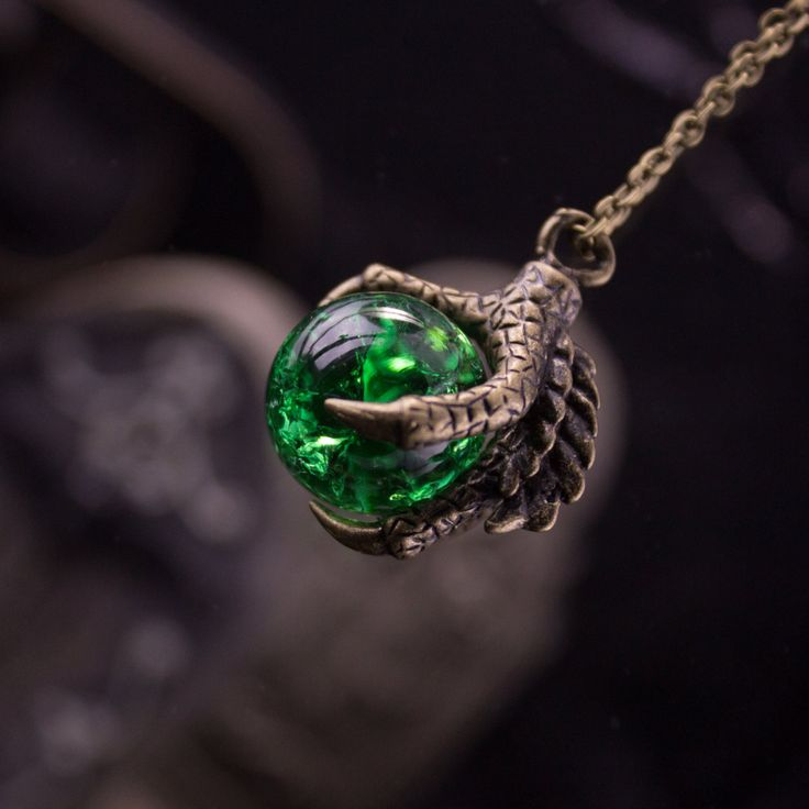 Dragon claw grasping a mystical green crackle ball pendant halloween Necklace 220003HNL by LaraBellaJewelry on Etsy