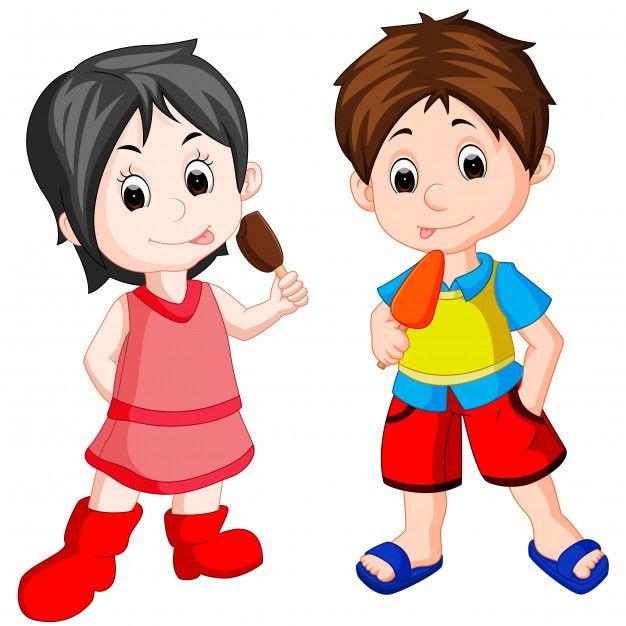 Lindo Nino Y Nina Comiendo Helado Vector Premium Vector Freepik Vector Comida Ninos Azul Chica Chicos Guapos Caricaturas De Ninos Ninos