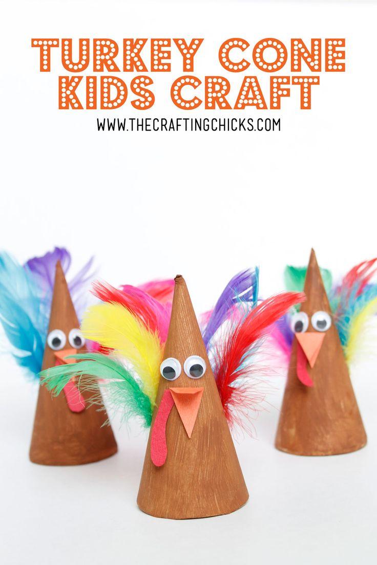 November Craft Ideas For Kids Part - 18: Turkey Cone Kids Craft Idea